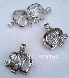 Top Sale 3 this month ! POP! 18kgp Elephant Pearl Bead Cage /Pendant for Jewelry, Bracelet /Necklace, Free Shipping $7.50