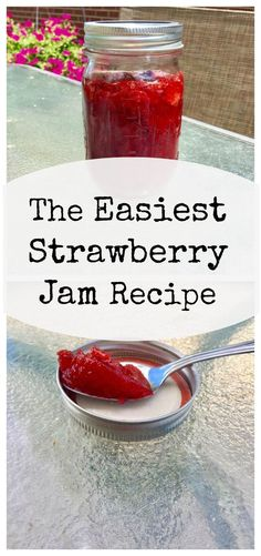 The Easiest Strawberry Jam Recipe.  Our family loves strawberry jam. Each year, I use this recipe to can all the strawberry jam we need for the year!