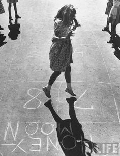 Girl playing hopscotch. New York, 1947.By Ralph Morse