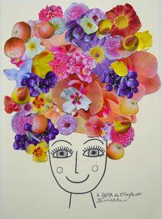 """Technique du collage ... avec l'""""alibi"""" du chapeau, jolies têtes à imprimer mais on peut partir du dessin de l'enfant."""