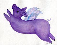 Acuarela de cerdo volando púrpura pintura por SharonFosterArt