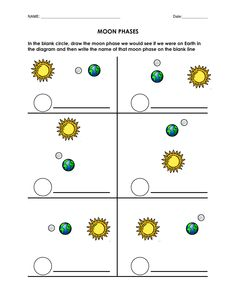 Printables Phases Of The Moon Worksheet sun the ojays and stars on pinterest blank moon phases worksheet