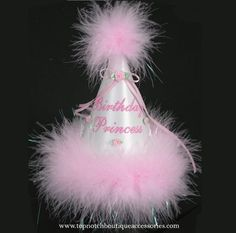 Girls Birthday Party Hat Pink Princess Marabou Embellished Satin 1st Accessory #PartyHatsLLC