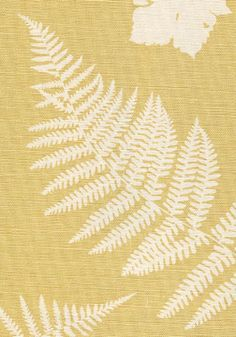 Fern & Dragonfly Linen Fabric Off white linen with leaves and a straw background