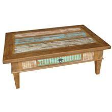 Mesa de centro em madeira de demolição e acabamento em patchwork com uma gaveta e puxador de aço envelhecido