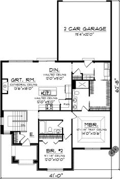 Cottage Style House Plans - 1398 Square Foot Home , 1 Story, 2 Bedroom and 2 Bath, 2 Garage Stalls by Monster House Plans - Plan 7-1088