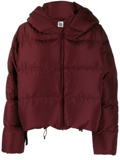 Bacon Cropped Puffer Jacket In Red Puffer Jackets, Winter Jackets, Red Feather, Size Clothing, Bordeaux, Baby Design, Bacon, Rain Jacket, Women Wear