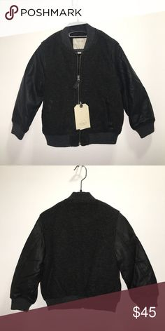 Zara Boys Wool Bomber Jacket Zara Boy Fashion Collection   Charcoal Gray wool and faux leather sleeved bomber jacket   Size 5 years   NWT   Very modern, stylish, and warm!  Check out my other items ! I ship same or next day📬 Thanks for looking ! Zara Jackets & Coats