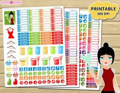 Printable Cleaning Stickers Kit - Printable planner stickers for Erin condren - Happy planner - Filofax - Organizing stickers  Include 3 sheets letter