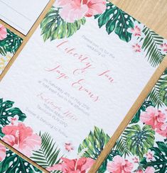 tropical wedding and party invitations (beyond the aisle) -paper chase: tropical wedding and party invitations (beyond the aisle) - Colorful Tropical Wedding Stationary Ideas Hawaiian Invitations, Blush Wedding Invitations, Watercolor Wedding Invitations, Wedding Invitation Wording, Wedding Stationary, Party Invitations, Invitation Suite, Invite, Wedding Stamps