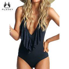 섹시한 급락 목 Flouncing 높은 컷 Trikini 밀어 모노 키니 수영복 여성 끈 수영복 원피스 수영복