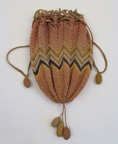 Hand-knitted reticule, mid 19th century