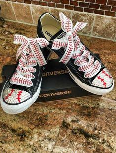 Blinged converse shoes with Swarovski crystals and softball ribbon Baseball Dugout, Baseball Crafts, Baseball Mom Shirts, Baseball Party, Baseball Season, Baseball Stuff, Softball Stuff, Baseball Equipment, Baseball Cap