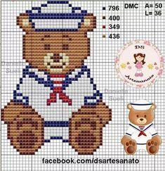 Ursinho marinheiro para ponto cruz