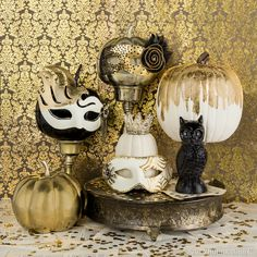 Add a touch of mystery and elegance to your Halloween décor with masquerade masks.
