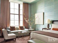 Aqua & Brown Bedroom | Bedrooms | LUXE Source