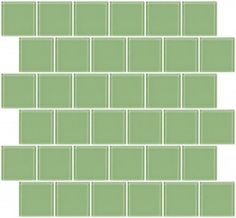 2x2 Inch Retro Mint Green Glass Tile Reset In Offset Layout