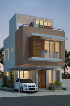 Fortune Residency With Floor Plan – Amazing Architecture Magazine 3 Storey House Design, Bungalow House Design, House Front Design, Small House Design, 3d House Plans, Independent House, Kerala House Design, Minimalist House Design, House Elevation