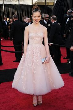 Hailee Steinfeld Tulle Strapless Sheer Neckline Ball Gown Ankle Length Pale Pink Oscar/ Evening Dress/Celebrity/ Prom Wear