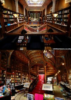 Livraria Lello & Irmãois a bookstore located in centralPorto,Portugal. It is one of the oldest book stores in Portugal. It hasstained glass windows, carved wood book shelves, an amazing stairway, glass-enclosed bookshelves arched at the top, and Art Deco facade and interior on two levels.It's among the most beautiful bookstores in the world. (Photos by Michael Huniewicz)