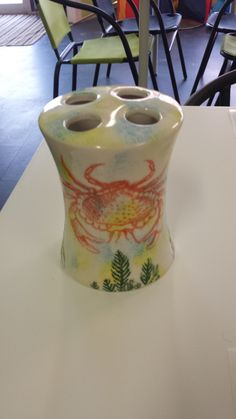 Toothbrush Holder using sponging and silk screening Painted at The Painted Turtle Pottery Studio