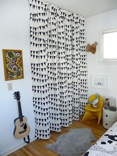 Kids room curtains plain color with stenciled stapes or animals
