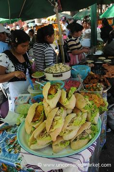 Street Food at Semana Santa - Antigua, Guatemala Like a buffet you just work your way from one end to the other YUM