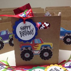 A personal favorite from my Etsy shop https://www.etsy.com/listing/270095490/just-6-monster-truck-birthday-bagbox