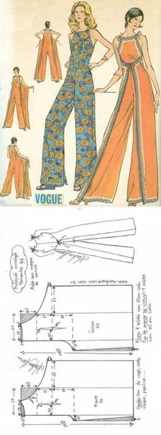 Шитье простые выкройки Macacão envelope vintage - DIY - molde, corte e costura - Marlene Mukai // Taika Dress Making Patterns, Easy Sewing Patterns, Vintage Sewing Patterns, Diy Clothing, Sewing Clothes, Clothing Patterns, Fashion Sewing, Diy Fashion, Asian Fashion