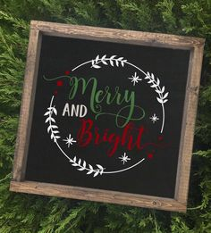 Items similar to Merry & Bright Wreath Christmas Chalkboard Art, Christmas Signs Wood, Holiday Signs, Christmas Decorations, Christmas Ornaments, Christmas Lyrics, Christmas Time, Homemade Christmas, Christmas Projects