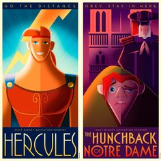 Pôsteres de filmes Disney em Art Déco   Just Lia