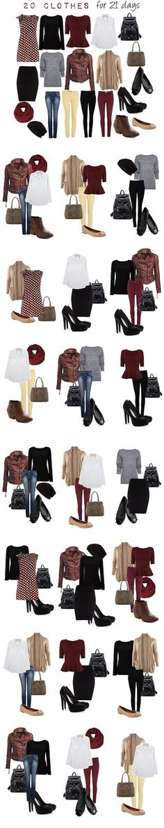 The traveling foodie: 20 clothes for 21 outfits Capsule Wardrobe, Travel Wardrobe, Wardrobe Ideas, Work Wardrobe, Fall Wardrobe, Fall Outfits, Casual Outfits, Packing Outfits, Outfit Winter