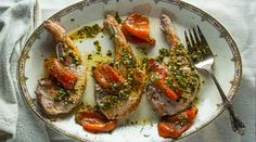 Pork Chops with Marinated Roasted Peppers | Tasting Table