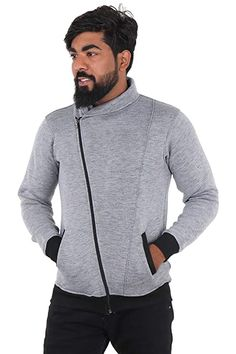 Buy Fashion Gallery Jackets for Men Stylish|Stand Collar Sweatshirts for Men|Full Sleeve Jackets Grey at Amazon.in