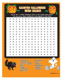13 hidden Halloweeny terms abound in this festive word search. Your kids can boost their vocabulary skills, but under the guise of spooky Halloween fun.