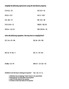 This worksheet covers identifying simple algebraic expressions as ...