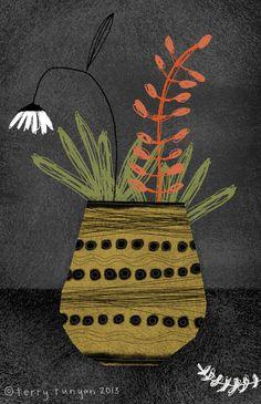 'Yellow Vase' by Terry Runyan Painting Inspiration, Art Inspo, Arte Tribal, Plant Art, Still Life Art, Plant Illustration, Arte Floral, Illustrations, Abstract Flowers