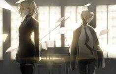 blonde_hair kagamine_len kagamine_rin male paper saihate shirt short_hair skirt suit thighhighs tie vocaloid zettai_ryouiki