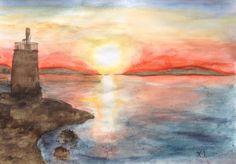 Το ταξίδι στην Αιγινα – Ηλιοβασιλέμα στο Φανάρι του Μπουζα | | Tria-Aegina Lighthouse, Greece, Arts And Crafts, Painting, Beautiful, Bell Rock Lighthouse, Greece Country, Light House, Painting Art