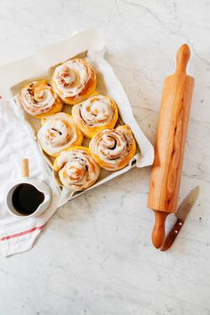brown butter pumpkin rolls with a vanilla bean crème fraîche glaze