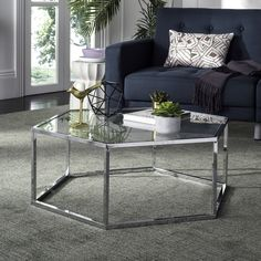 Safavieh Furniture - Upscale minimalism at its finest, this Eliana Coffee Table is chic and timeless. Eliana gives any interior an airy feel with its open hexagon frame while Glass End Tables, Sofa End Tables, Glass Table, Metal Tables, Hexagon Coffee Table, Round Coffee Table, Furniture Deals, Table Furniture, Metal Furniture