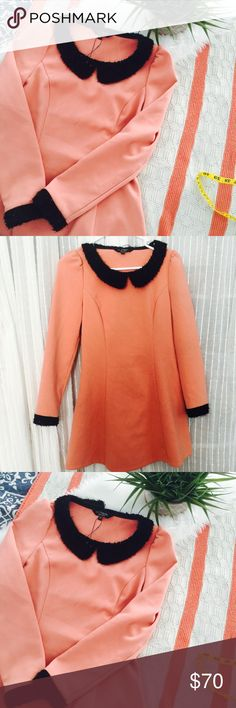 Beautiful peterpan collar salmon dress. This dress is a beauty. NWOT. Never worn. Thick stretchy material. Can't understand the foreign witting. 🙁 the collar and sleeves are a lovely fuzzy materiel with hints of shiny sequence. You will definitely live love this dress. Size as small (36) in China. Measurements chest 17 stretches up t 18 waist 14.5 to 16 length 31.5 sleeves length 22.5 has a side zipper. Color is a lovely salmon and black La chapelle Dresses Mini