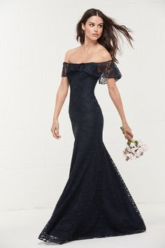 Wtoo 494 is an off the shoulder flounced Amour lace bridesmaid gown. A figure hugging fit-and-flare, this romantic dress skims off the shoulder with a simple fluttering of lace. Lace Bridesmaids Gowns, Wedding Bridesmaid Dresses, Wedding Gowns, Wedding Suite, Gatsby Wedding, Bride Dresses, Maxi Dresses, Black Wedding Dresses, Wedding Dresses Plus Size