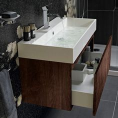 Mino 600 drawer unit and basin - walnut image 3 Bathroom Basin Cabinet, Basin Vanity Unit, Bathroom Vanity Units, Washroom, Bathroom Cabinets, Cupboards, Contemporary Bathroom Furniture, Small Bathroom Furniture, Bathroom Interior