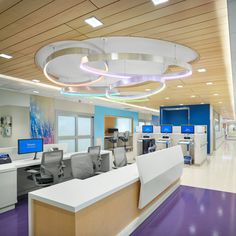SoundPly's acoustic ceiling planks are a great acoustic solution for hospitals! They're lightweight and can be suspended from ceiling grids, while providing best-in-class acoustic sound control. Even more, they add the welcoming warmth of natural wood, shown to reduce stress and have a calming effect. Project: Nemours Children's Hospital Location: Wilmington, DE Product: SoundPly Lino Acoustic Ceiling Planks Architect: EwingCole Acoustic Ceiling Panels, Acoustic Baffles, Childrens Hospital, Showcase Design, Healthcare Design, Architecture Design, Interior Design, Planks