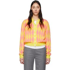 Ashley Williams Ssense Exclusive Yellow And Pink Wool Cardigan Cashmere Turtleneck, Merino Wool Sweater, Wool Cardigan, Cashmere Sweaters, Ashley Williams, Blue Sweaters, Long Sleeve Tops, Aud, Clothes