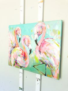 Diy room decir for girls wall canvases 49 super Ideas Flamingo Painting, Flamingo Art, Painting Flowers, Acrylic Painting Inspiration, Diy Art, Painting & Drawing, Flower Art, Canvas Wall Art, Art Projects