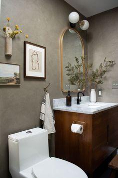 Modern Vintage Bathroom Design Wood Slat Wall, Wood Slats, Modern Vintage Bathroom, Modern Outdoor Sofas, Laminate Cabinets, Vintage Stool, Hanging Vases, Wood Look Tile, Furniture Makeover