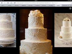 Three tier round cake blush icing damask appliqué effect