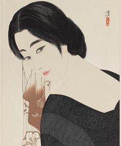 """In Kobayakawa Kiyoshi's """"After the Bath"""" (about 1933), a young woman in a black bathrobe looks back over her shoulder toward the viewer. The lines of the face are deeply printed, giving the work a slightly three-dimensional effect. The print is one of three similar designs issued by the Takamizawa publishing firm, whose seal is barely visible in the lower right corner. See more Japanese prints in the exhibition """"New Women for a New Age: Japanese Beauties, 1890s–1930s."""""""